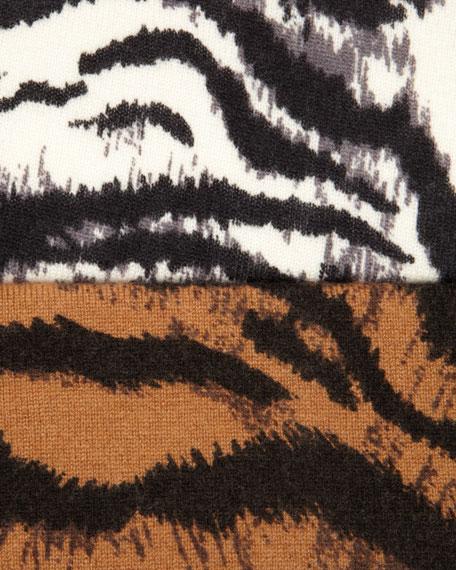 Zebra-Print Cashmere Cardigan