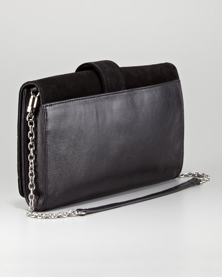 Crystal-Bracelet Suede Clutch Bag