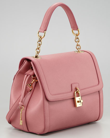 Miss Dolce Leather Satchel Bag, Pink