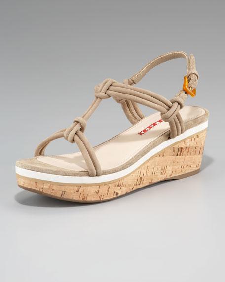 Suede T-Strap Cork Wedge Sandal