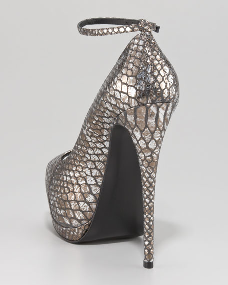 Python-Embossed Ankle-Strap Pump