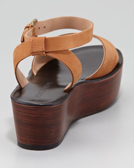 Ciara Ankle-Wrap Flatform Sandal, Whiskey