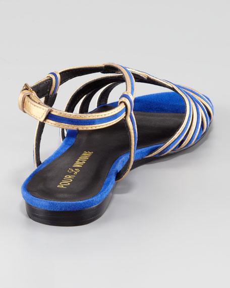 Farida Metallic-Trimmed Suede Sandal, Cobalt