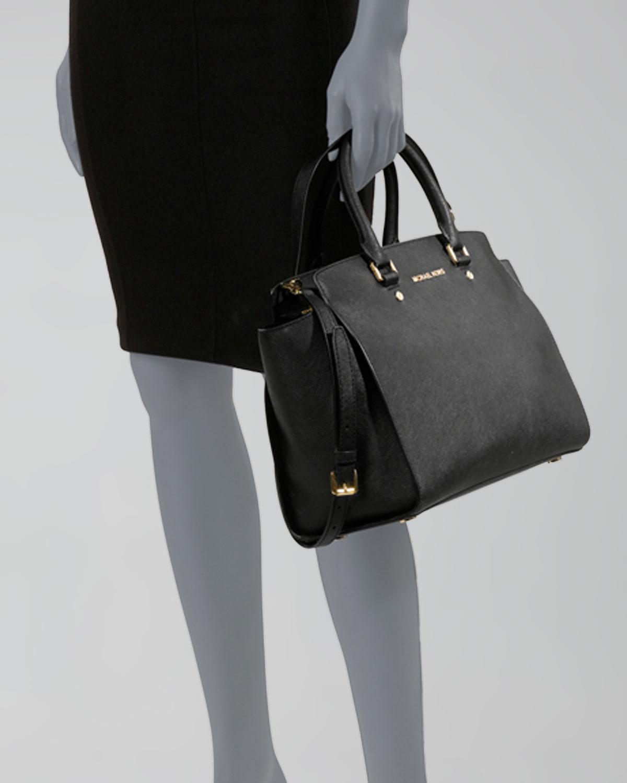 MICHAEL Michael Kors Selma Large Top-Zip Satchel Bag, Black ...