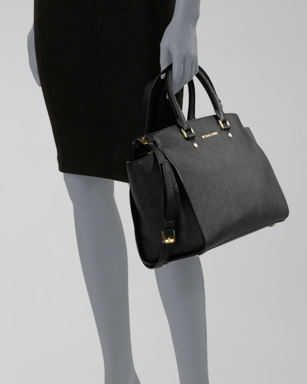 Michael Kors Selma Large Top Zip Satchel Bag Black Neiman Marcus