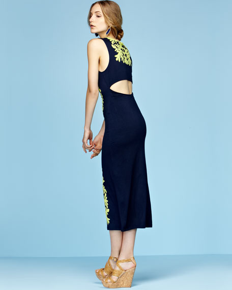 Slit-Back Applique Column Maxi Dress