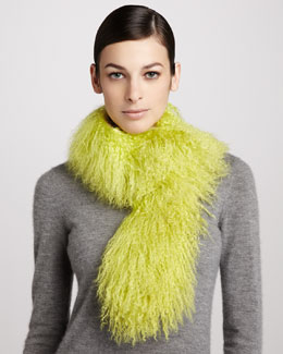 Trilogy Tibetan Lamb Fur Scarf, Highlighter