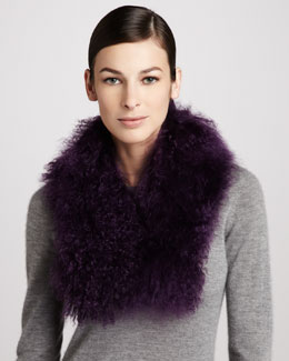 Trilogy Tibetan Lamb Fur Scarf, Purple