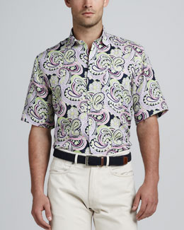 Peter Millar Paisley-Print Short-Sleeve Shirt