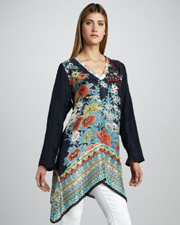 Johnny Was Collection Printed Silk Tunic