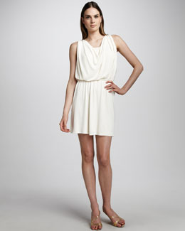Halston Heritage Draped Jersey Dress, Chalk
