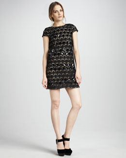 Catherine Malandrino Lace/Leather Dress