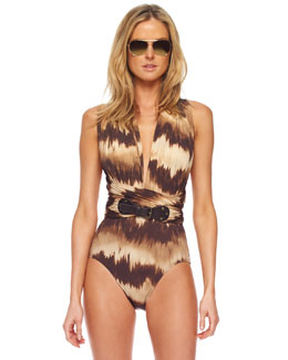 Michael Kors Ruched Belted Tie-Dye One-Piece Swimsuit