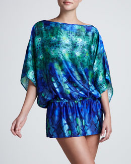 Luxe Stratosphere Feather-Print Tunic