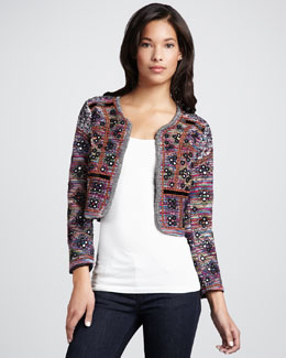 French Connection Embellished Striped Cropped Jacket