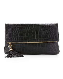 Michael Kors  Large Tonne Crocodile Embossed Fold-Over Clutch Bag