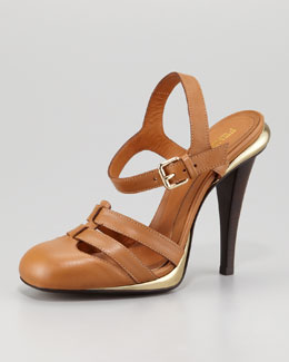 Fendi Closed-Toe Ankle-Wrap Sandal