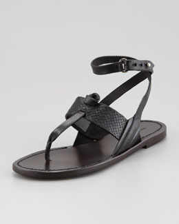 Rag & Bone Sigrid Ankle-Wrap Thong Sandal, Black
