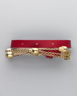 Alexander McQueen Chain & Leather Wrap Bracelet, Cherry