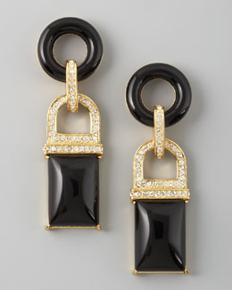 Rachel Zoe Square Drop Earrings, Black
