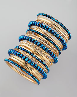 Cara Accessories 24-Piece Bangle Set, Blue