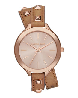 Michael Kors  Mid-Size Rose Golden Pyramid-Stud Leather Runway Watch