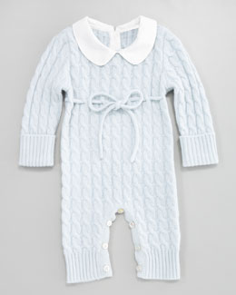 Neiman Marcus Cashmere Cable-Knit Playsuit, Light Blue