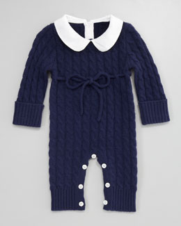 Neiman Marcus Cashmere Cable-Knit Playsuit, American Navy
