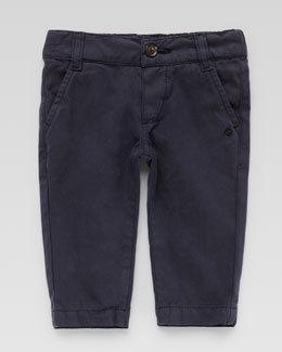 Gucci Flat-Front Cotton Slacks, Navy