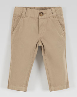 Gucci Flat-Front Cotton Slacks, Khaki