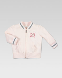 Gucci Gucci-Trim Zip Jacket, Powder Pink