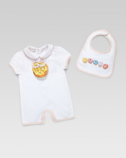 Gucci Gucci Cupcakes Playsuit & Bib Set