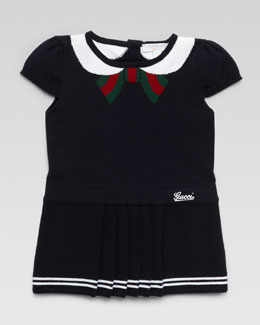Gucci Intarsia Bow-Collar Dress, Navy