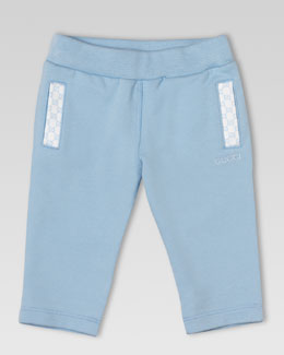 Gucci Jersey GG-Trim Jog Pants, Light Blue