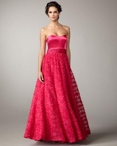 Aidan Mattox Floral Tulle-Skirt Ball Gown