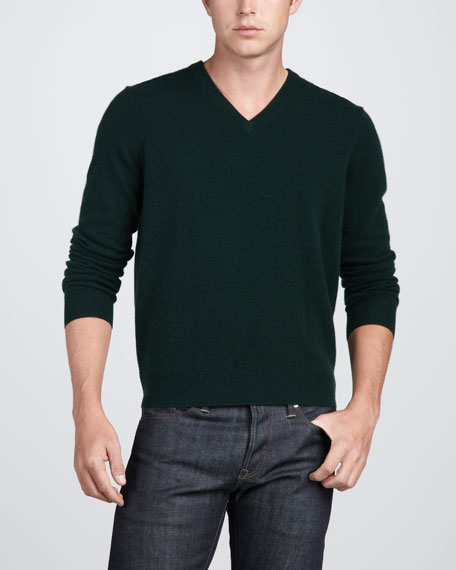 Virgin Cashmere V-Neck Sweater, Black
