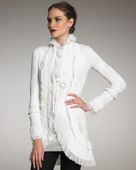 Exclusive Lace Ruffle Cardigan, Cream