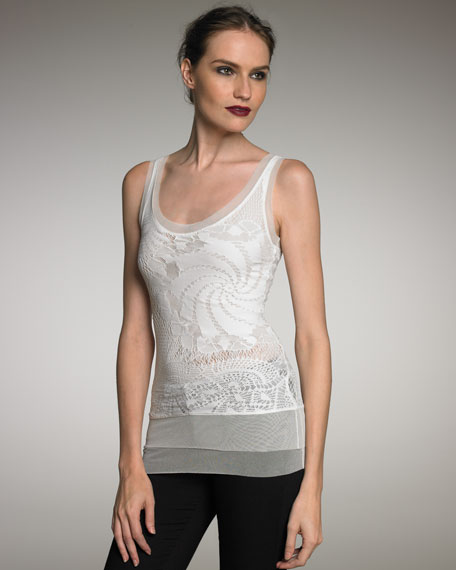 Long Lace Tank, Cream