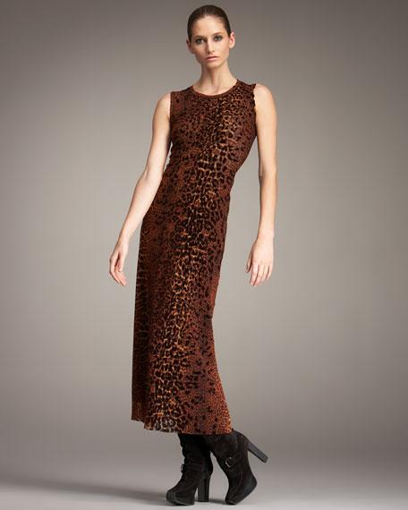 Leopard-Print Tulle Maxi Dress