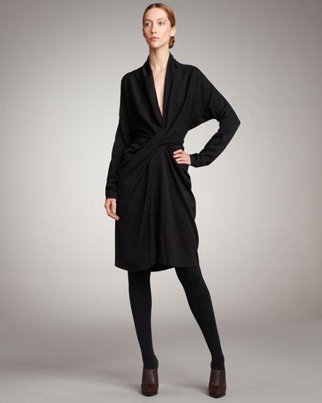 Gathered Long-Sleeve Dress