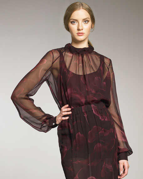 Lily-Printed Silk Blouse