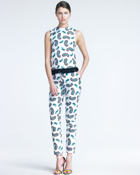 Silk Paisley-Print Trousers