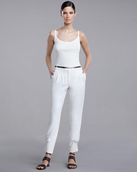 Pleated Crepe Marocain Pants