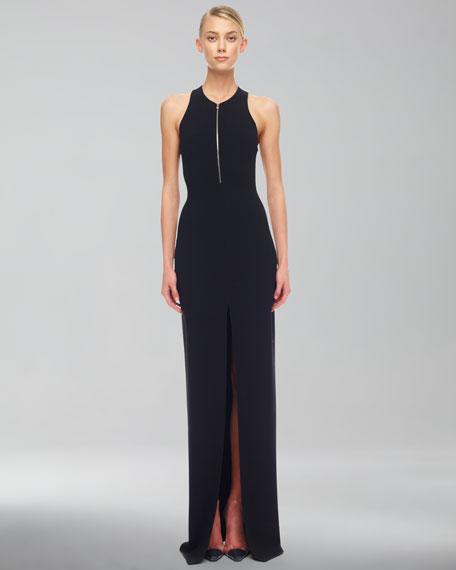 Crepe Zip Gown