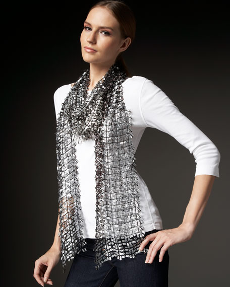 Long Ombre Sequin Scarf, Taupe