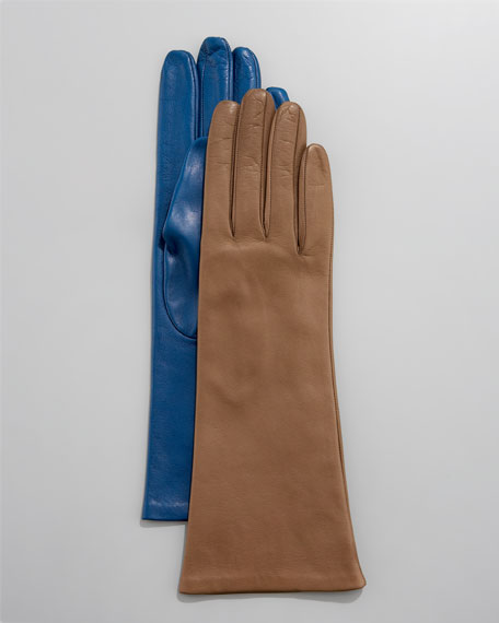 Four-Button Leather Gloves, Silk Lined