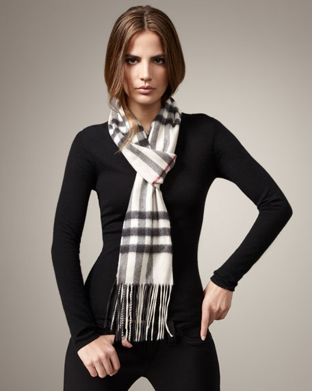 Giant Check Skinny Cashmere Scarf, Trench