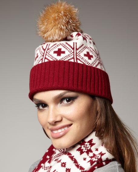 Fair Isle Cashmere & Fox Hat, Cranberry
