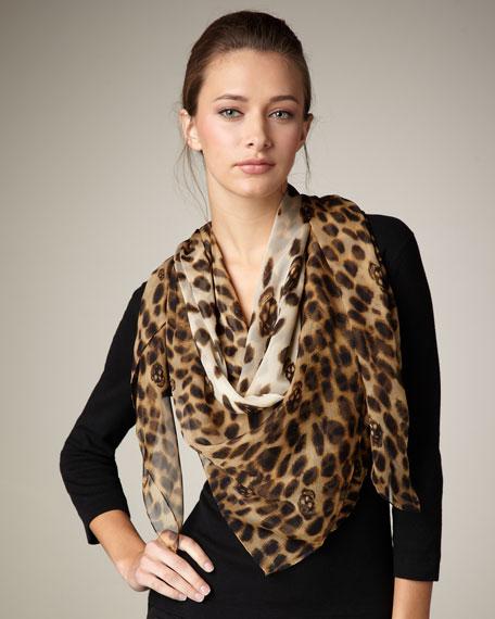 Leopard-Print & Skull Scarf, Camel/Black