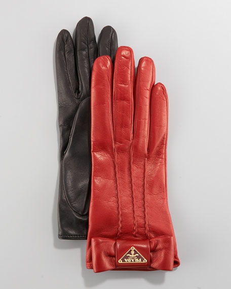Leather Bow Gloves